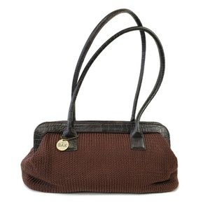 The Sak Brown Crochet Faux Leather Purse Handbag